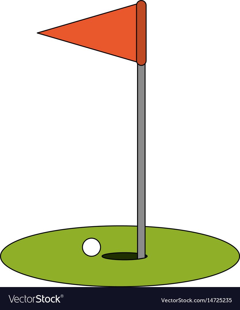 Color image cartoon golf flag with hole and ball vector image