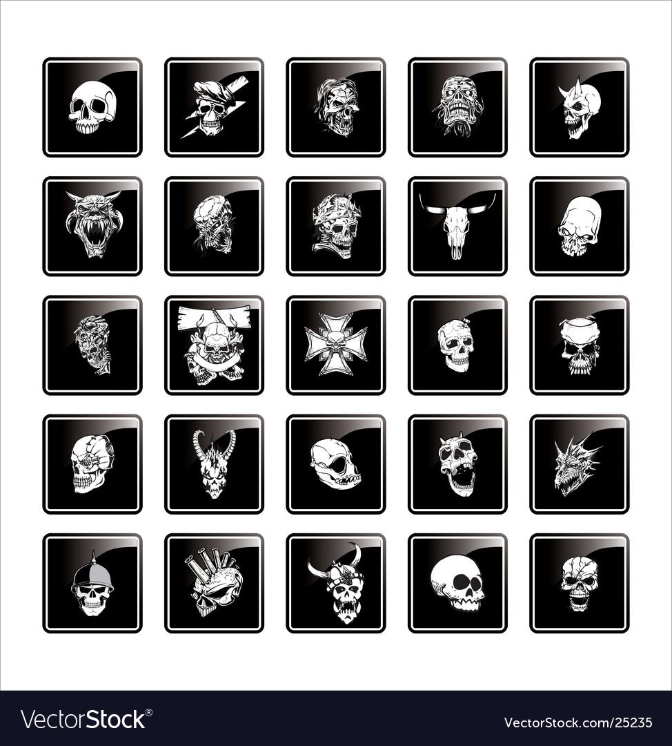 Skull button vector image