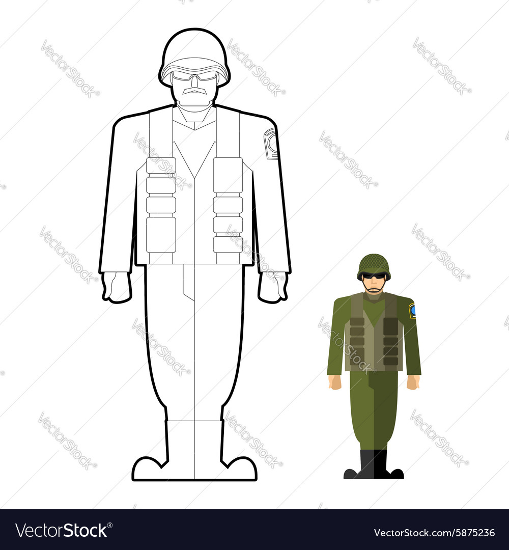 Soldiers coloring book Military clothing helmet vector image