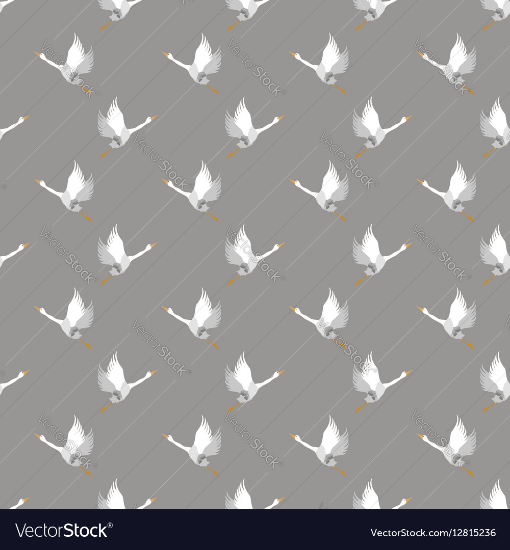 White Geese Seamless Pattern vector image