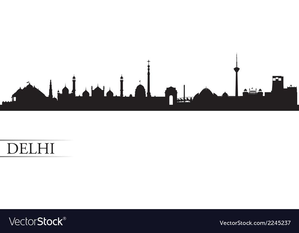 Delhi city skyline silhouette background vector image