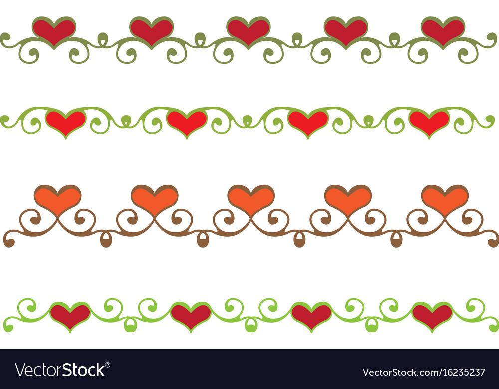 Floral heart border vector image