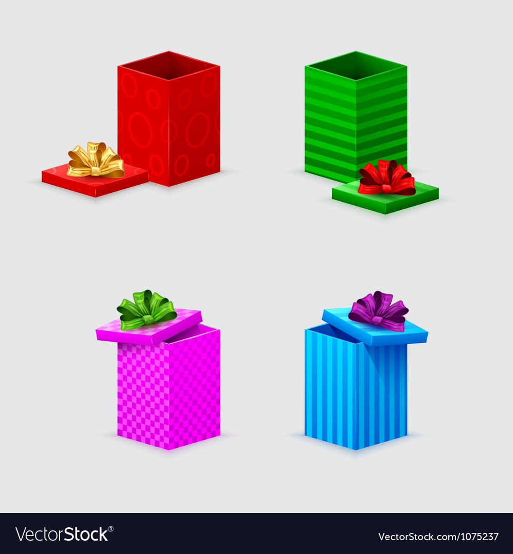Four gift boxes and covers with bows vector image