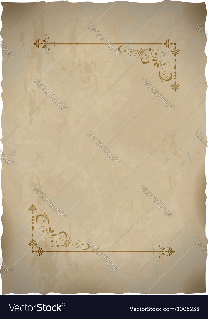 Old paper sheet with vintage frame vector image