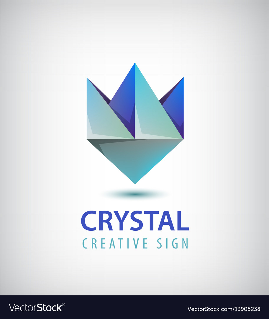 Abstract 3d crystal geometric logo vector image