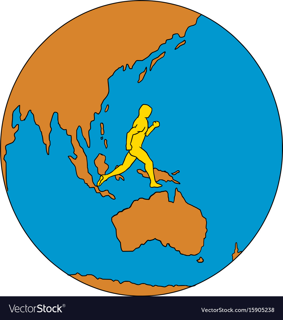 Marathon runner running around world asia pacific vector image