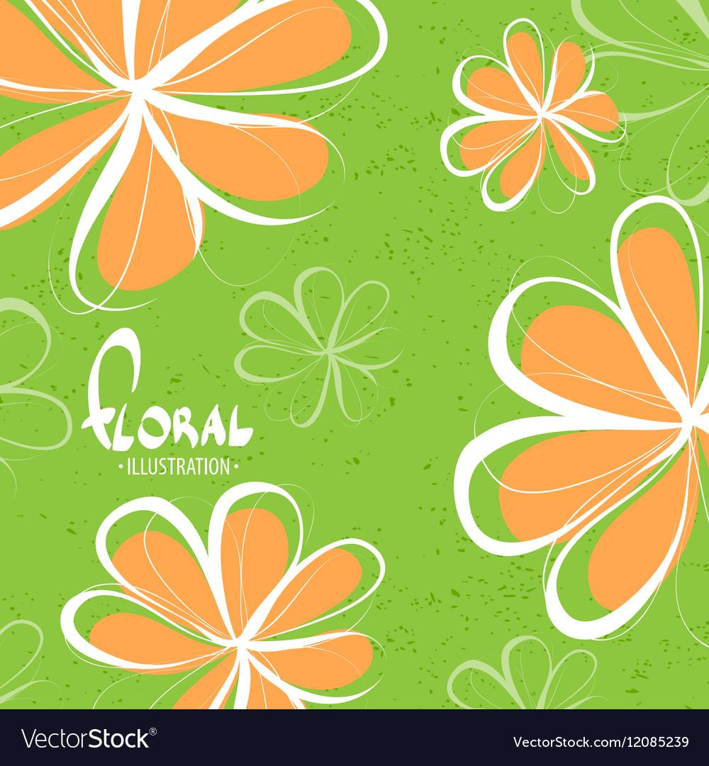 Bright schematic orange flowers vector image