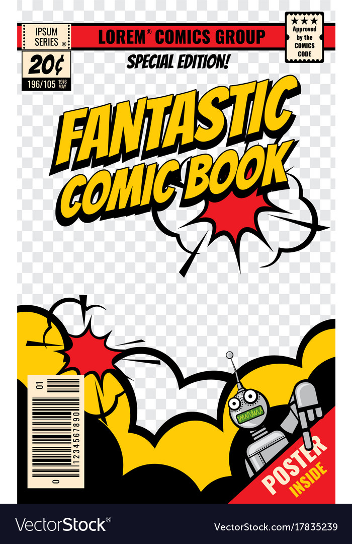 Blank Comic Book Cover Template : Comic book cover template royalty free vector image