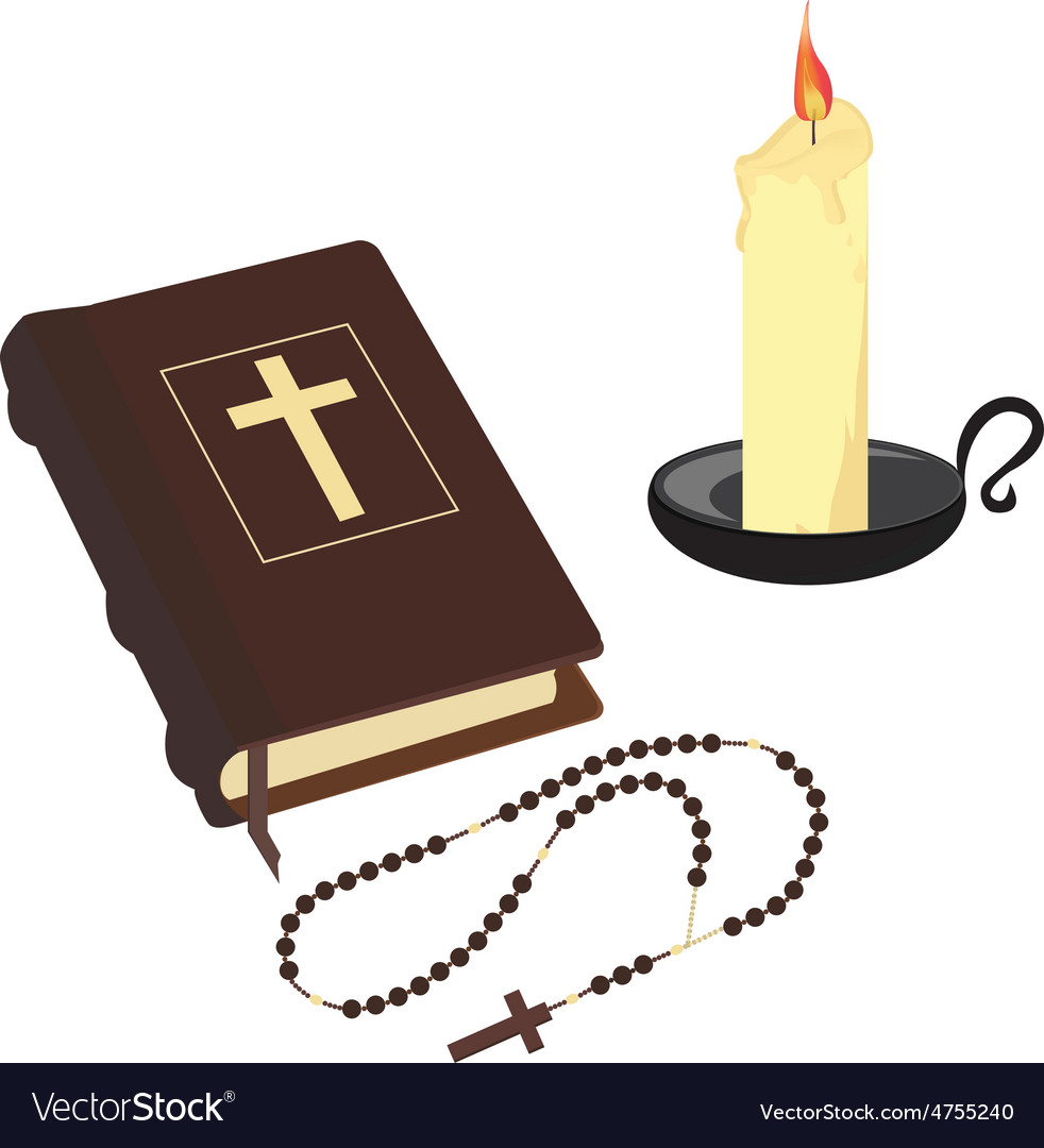 Bible rosary beads and candle vector image