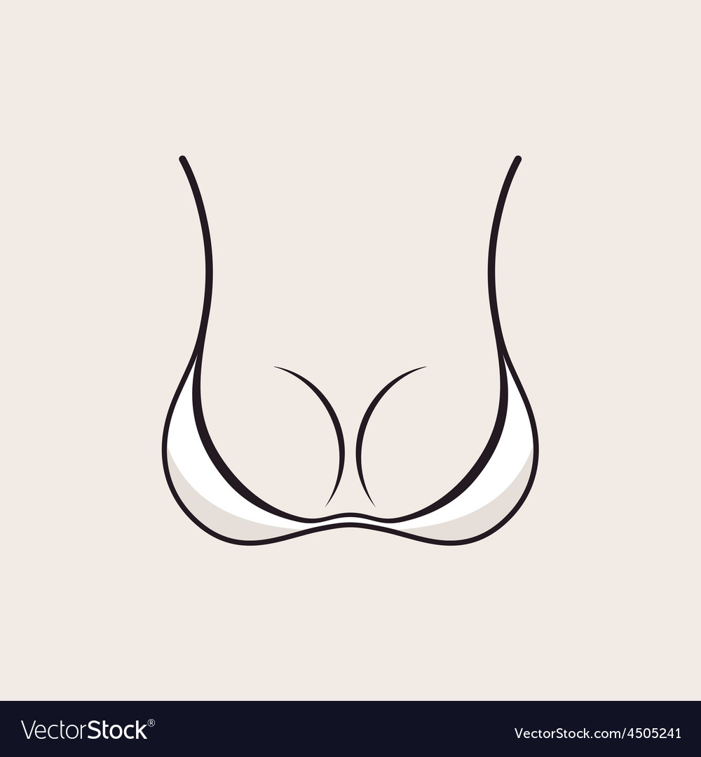 Bra icon sexy logo White simple emblem slim figure vector image