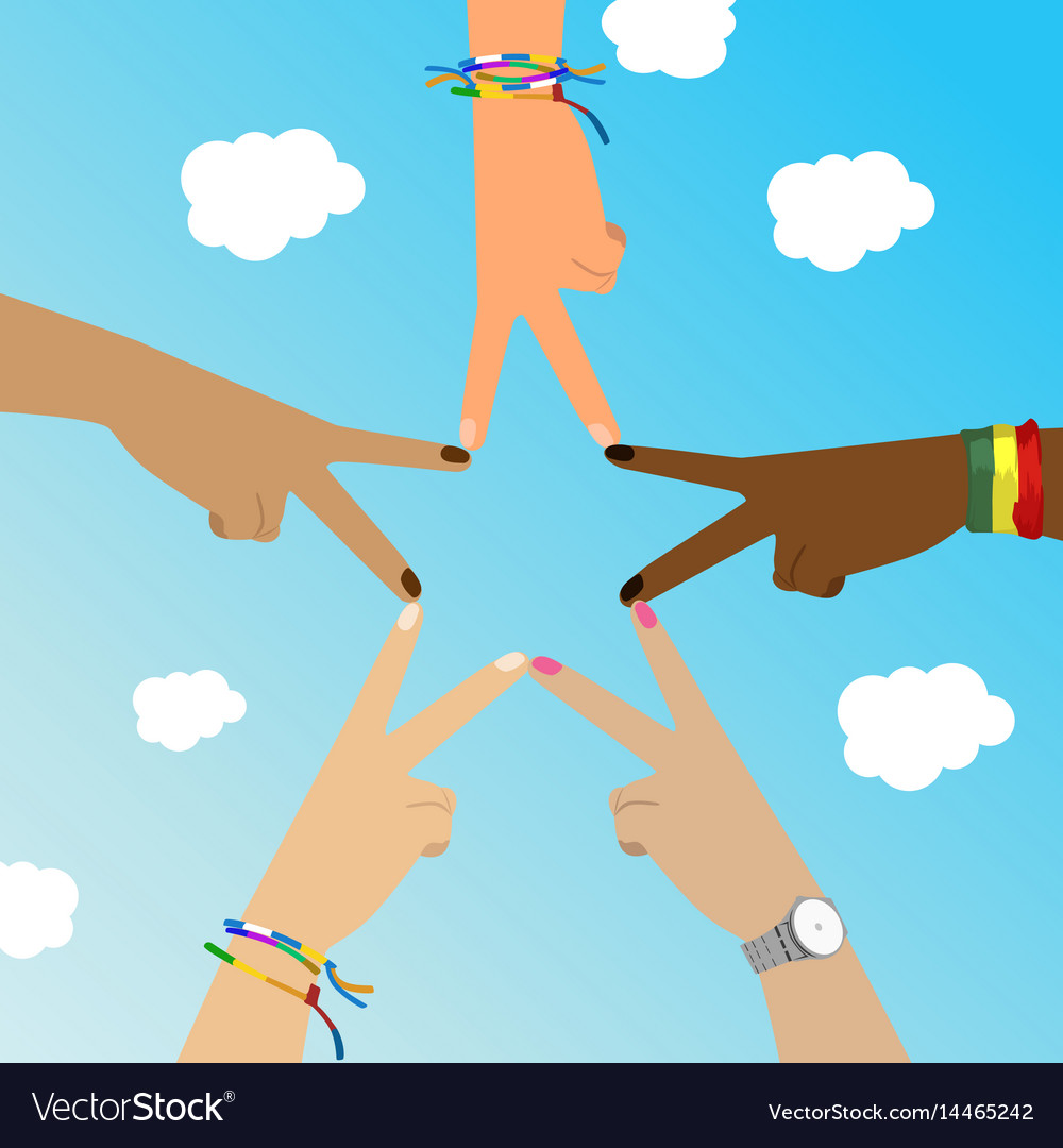 Multiracial hands make star sign over sky vector image
