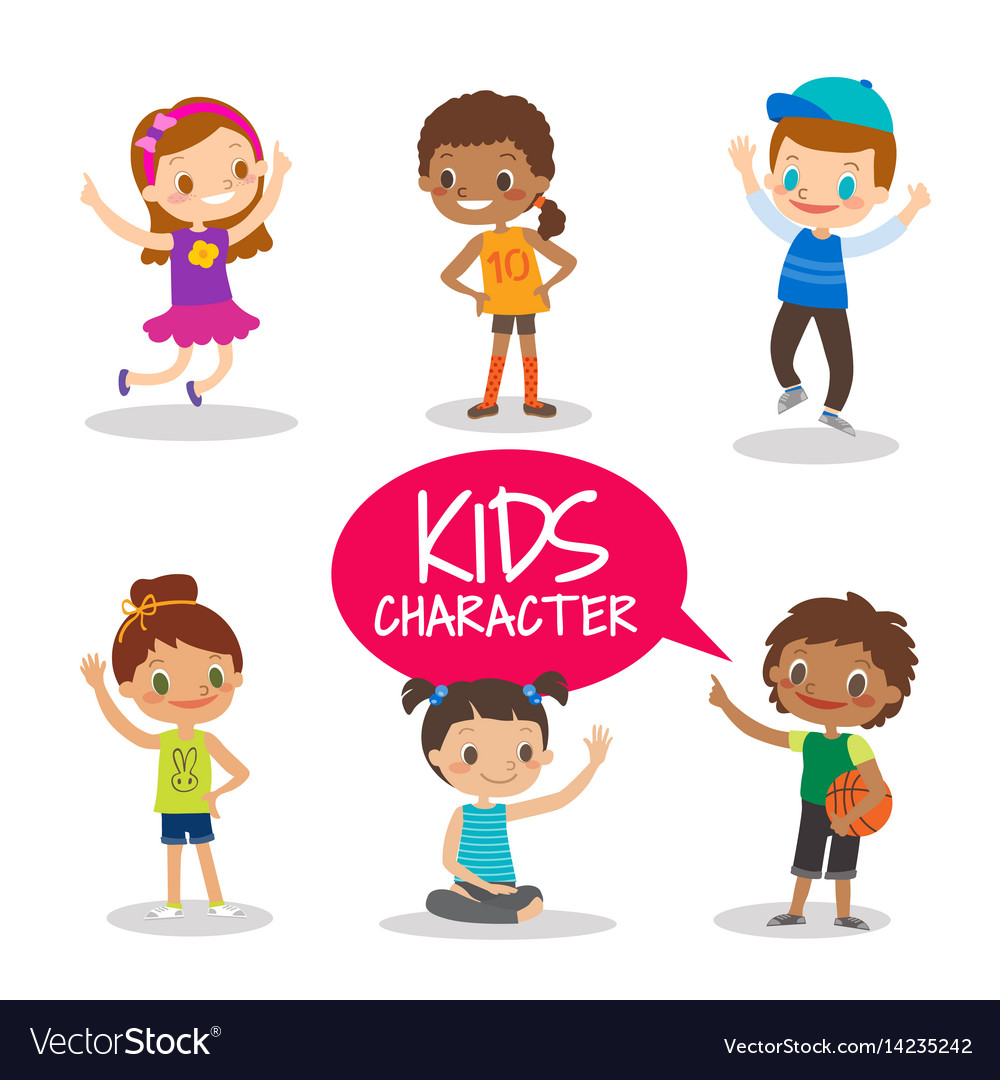 teen preteen kids cartoon characters vector image - Toddler Cartoon Characters
