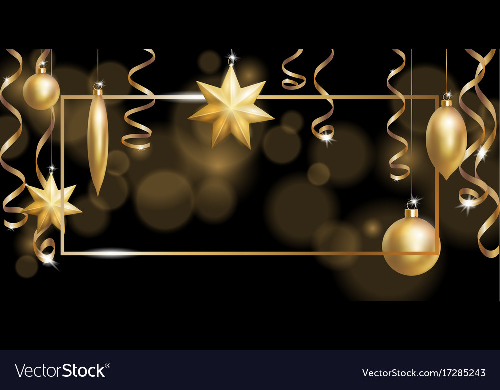 Christmas frame banner template ball fir toys vector image