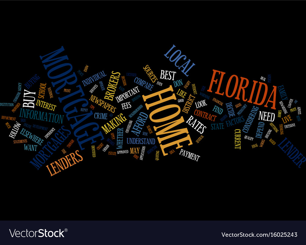 Florida home mortgages text background word cloud vector image