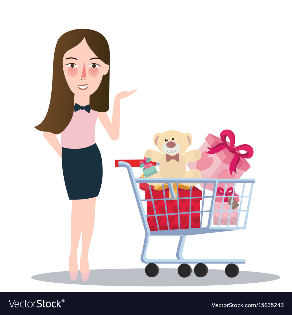 Girl woman buying purchase presents toy doll push vector image