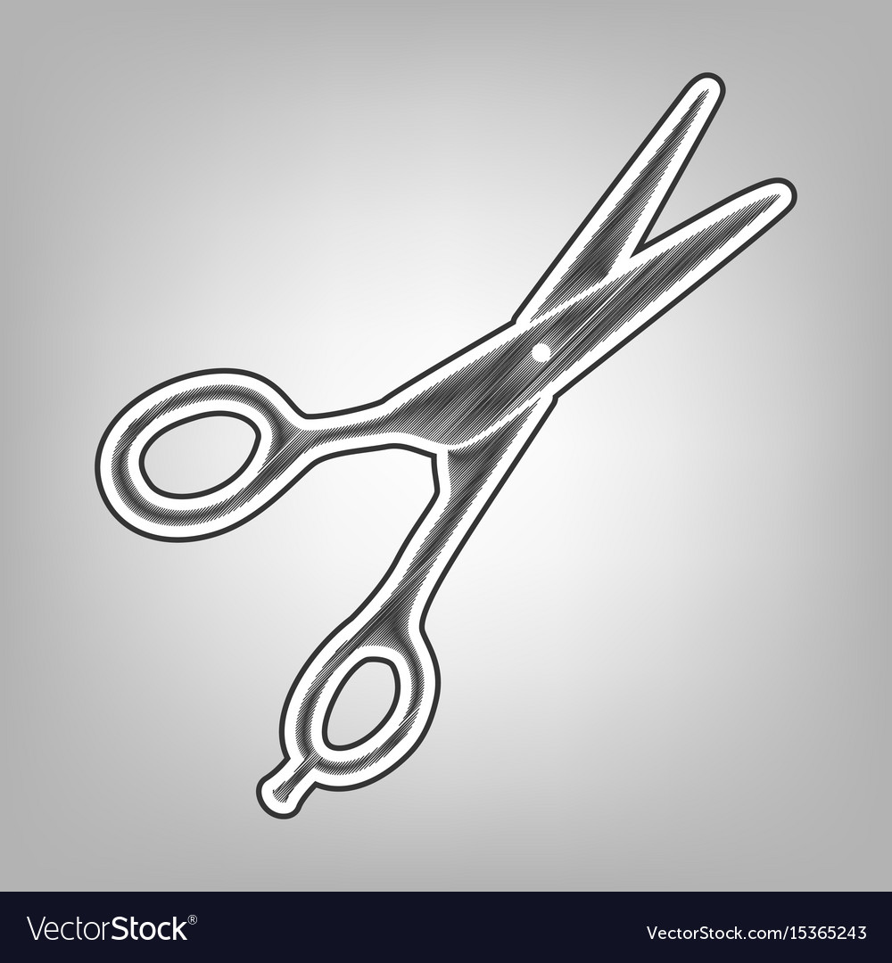 Hair cutting scissors sign pencil sketch vector image