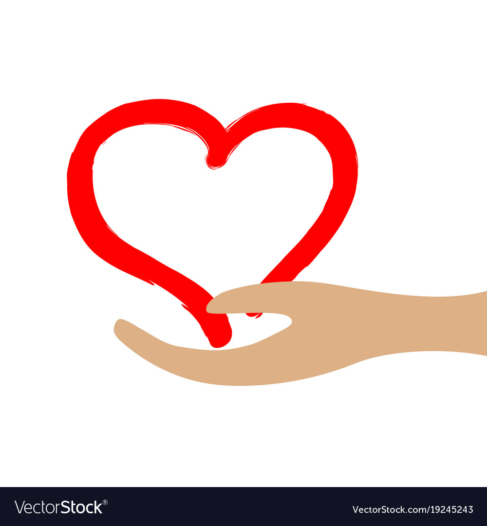 Red heart in hand 3712 vector image