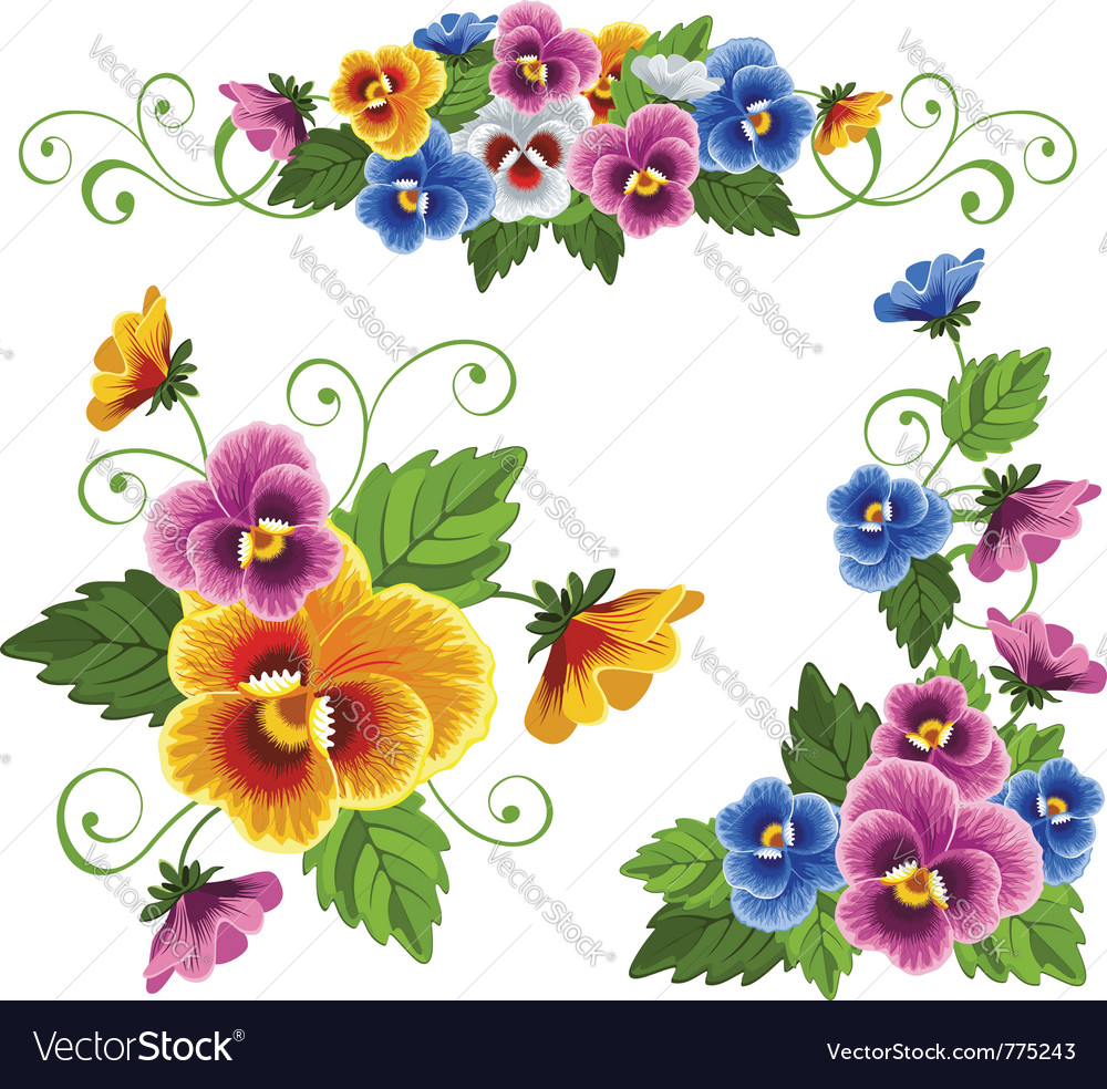 Set of floral patterns with pansy vector image