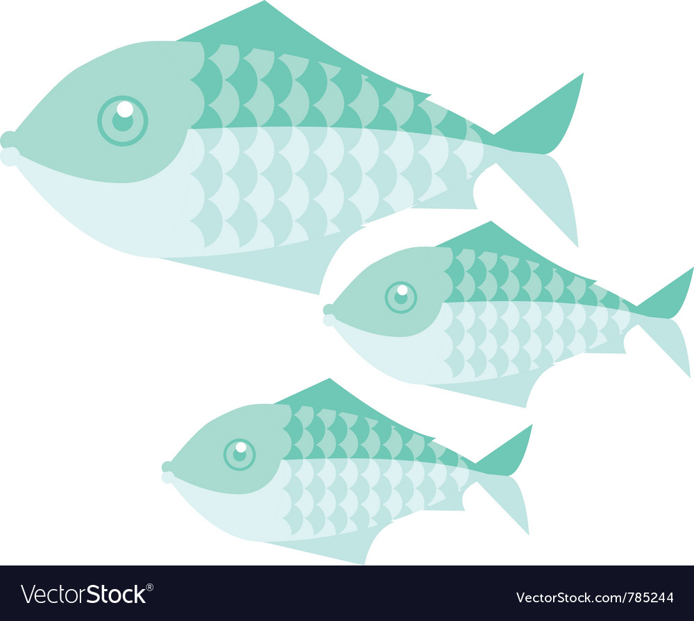 Green simple fish vector image