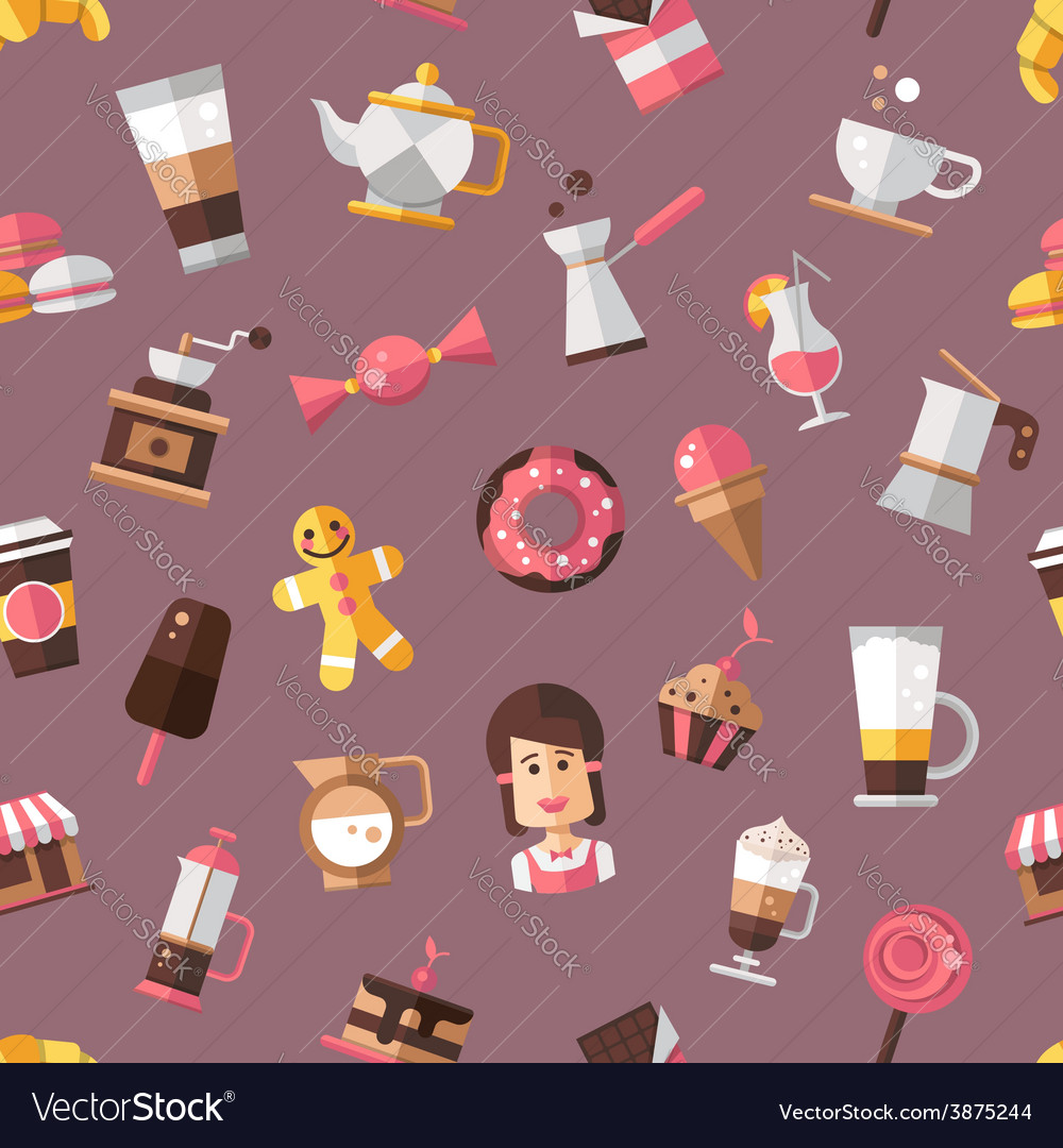 Pattern of modern flat design coffee-shop cafe vector image