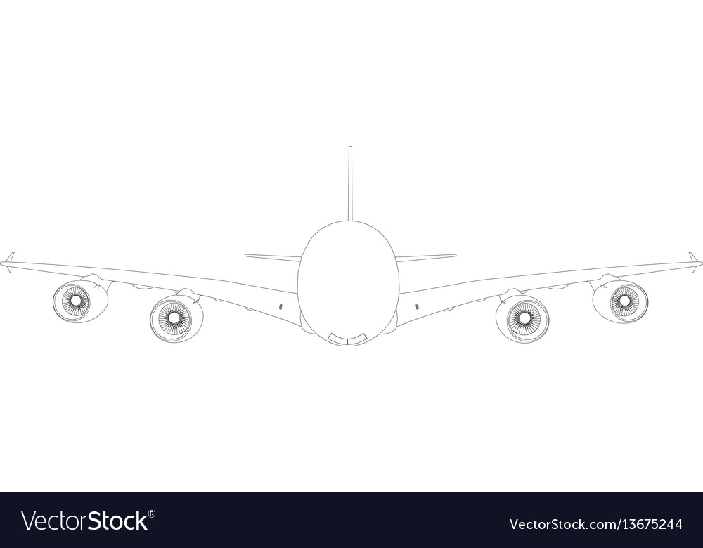 Wire-frame airplane front view vector image