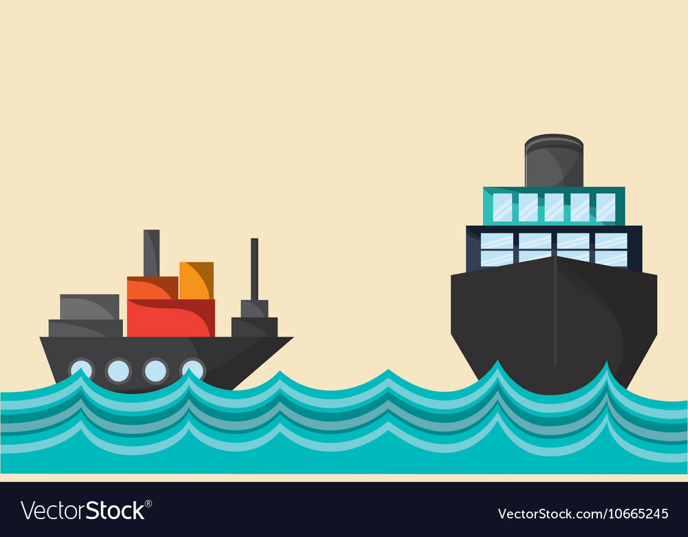 Cargo ship on water image vector image