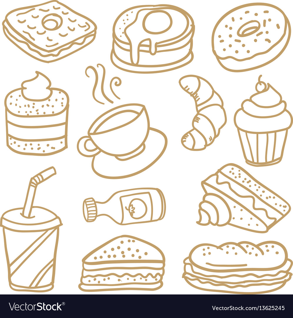 Food and drink various of doodles vector image