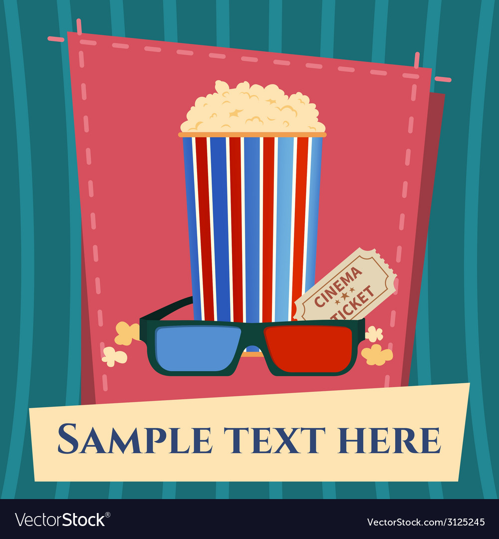 Popcorn box 3D glasses and ticket cinema poster in vector image