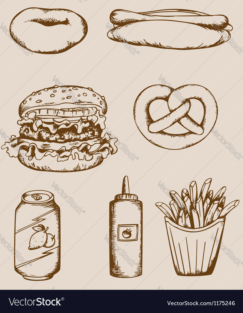 Fastfood vintage icons vector image