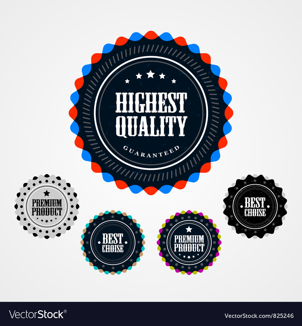 Collection of Premium Quality badges vector image