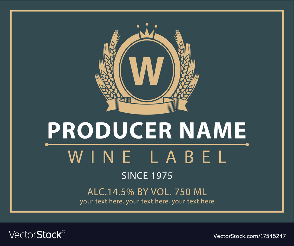 Label for wine with coat of arms and crown vector image biocorpaavc Gallery