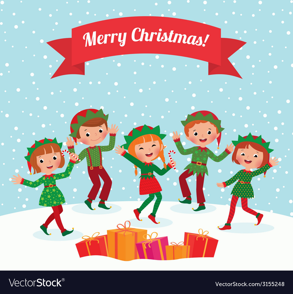 Merry Christmas elves Royalty Free Vector Image