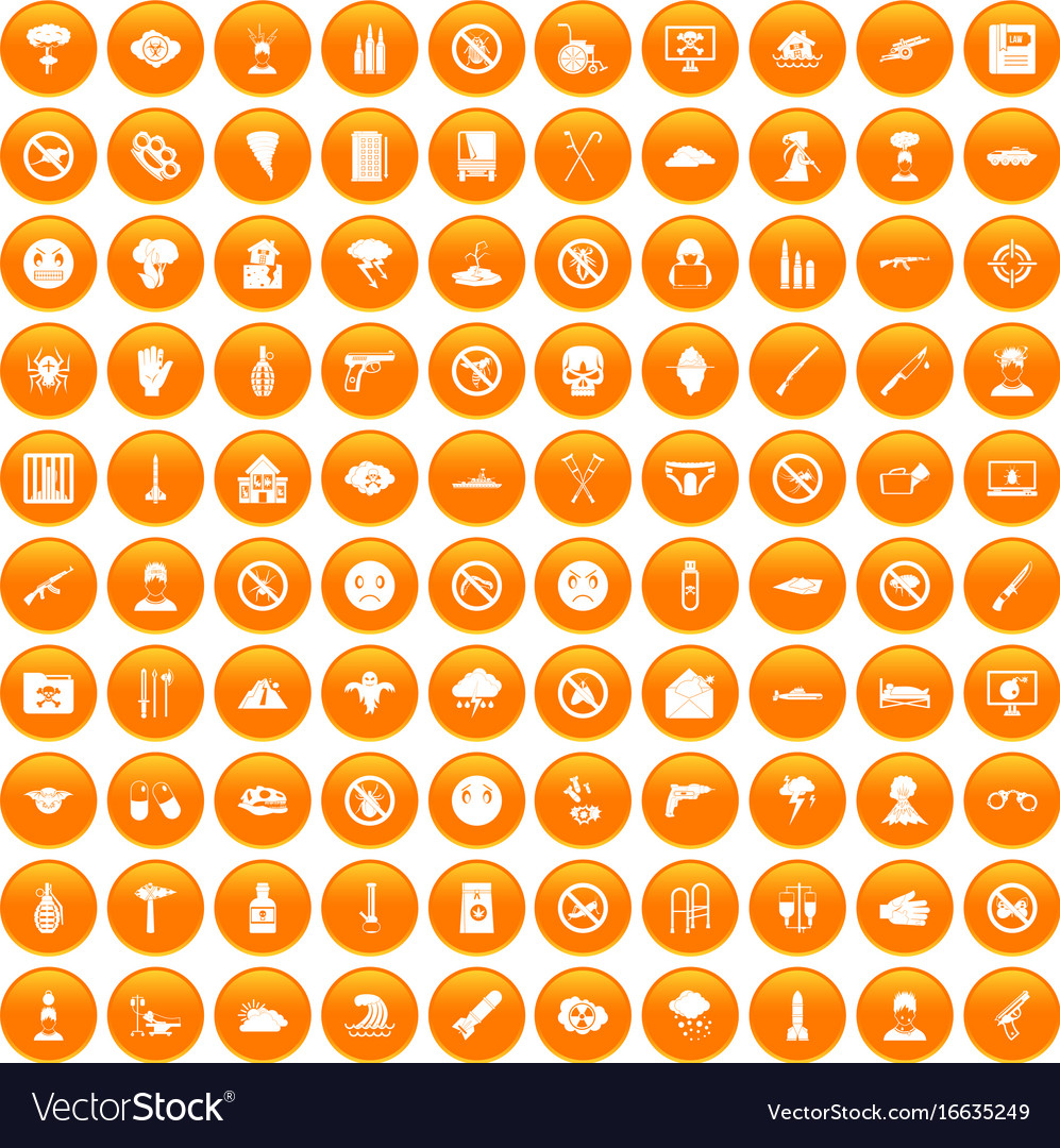 100 tension icons set orange vector image