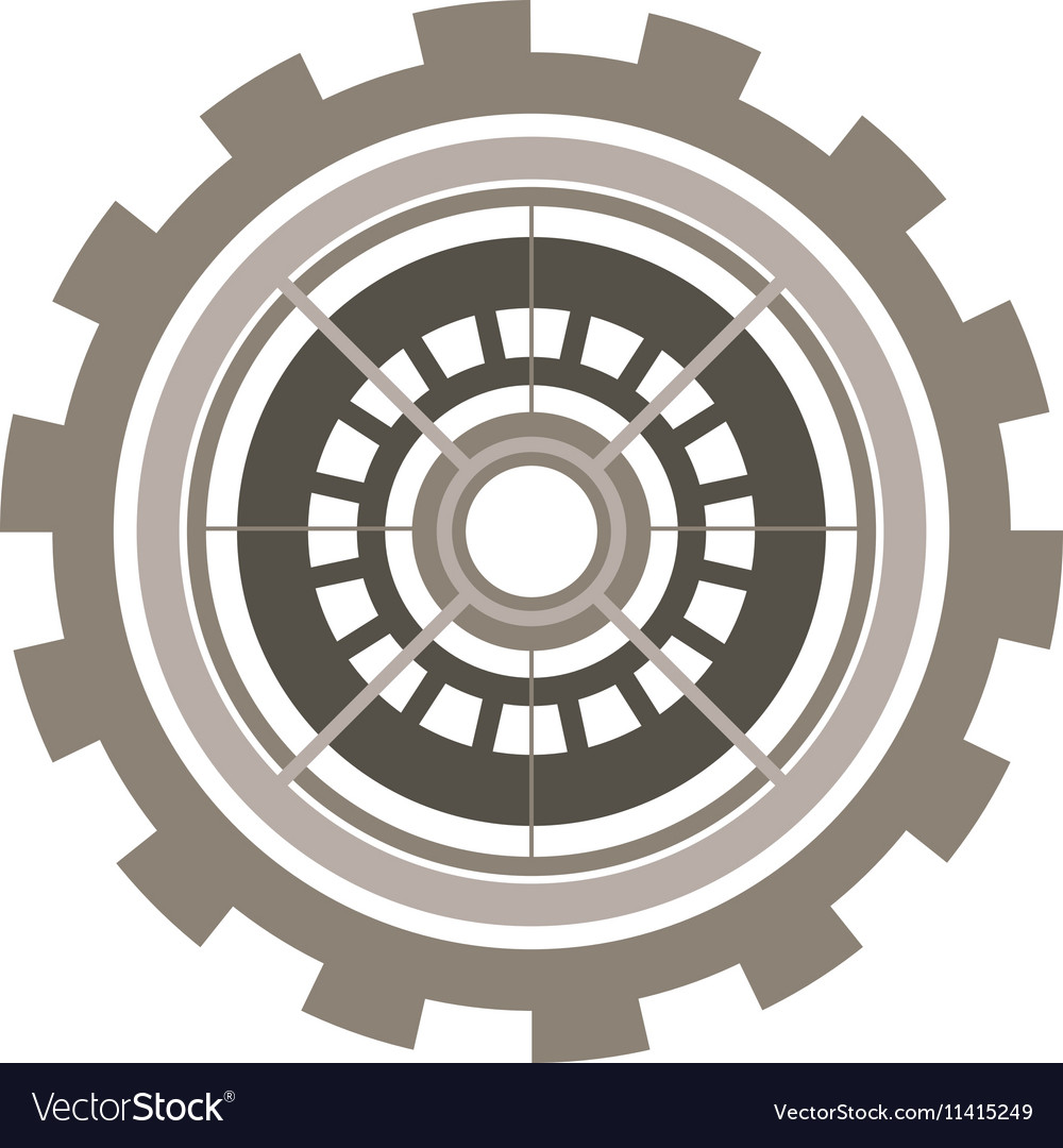 Silhouette gear wheel with crown and pinion vector image