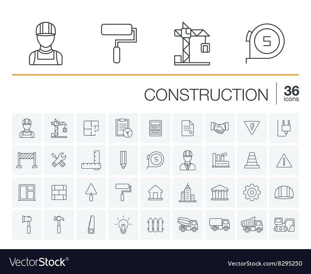 Construction industrial icons vector image