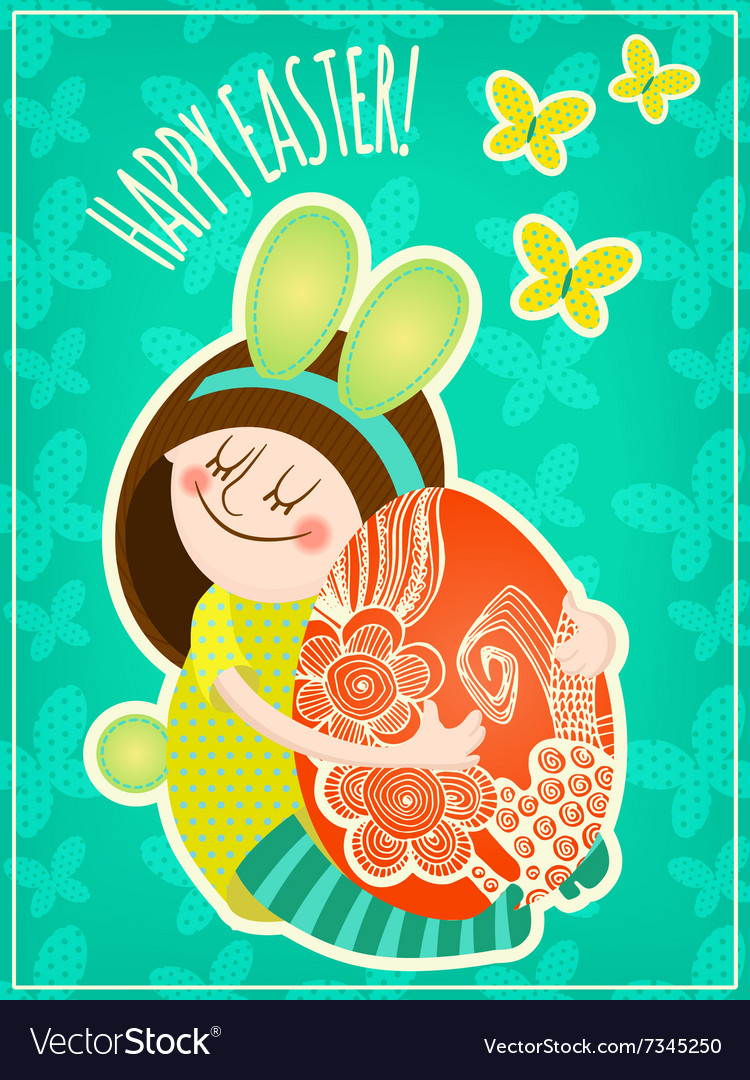 Girl with easter egg vector image