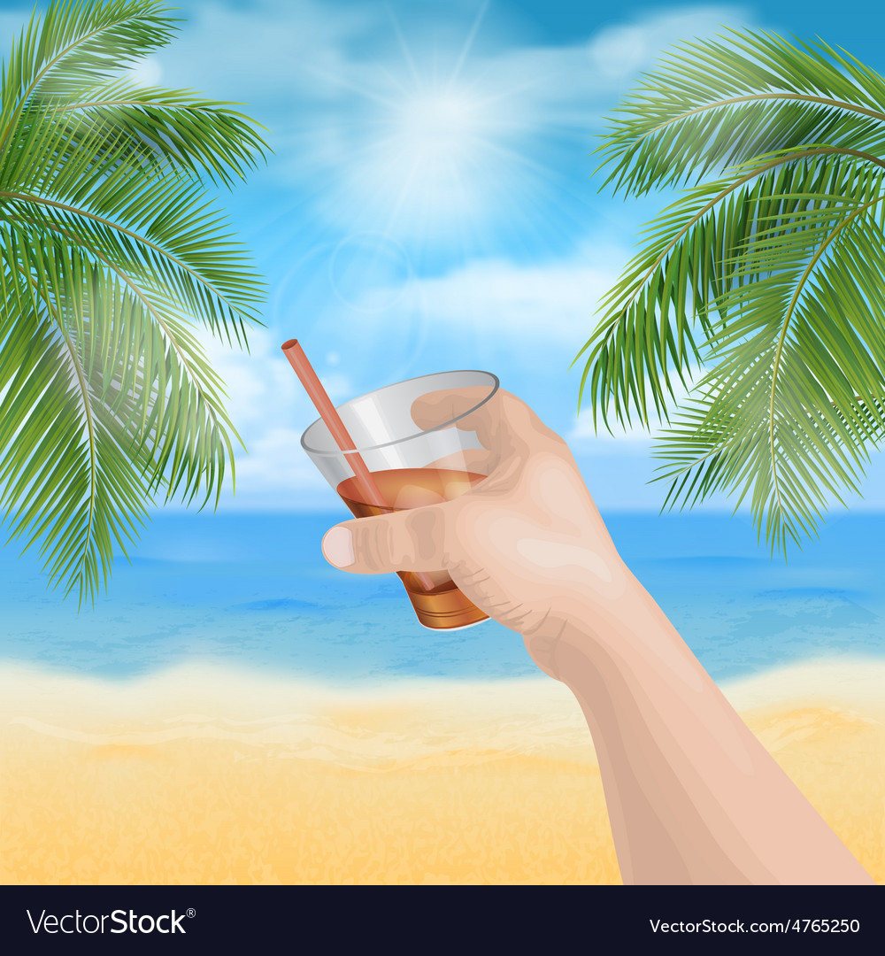 Hand holding a glass on the beach vector image