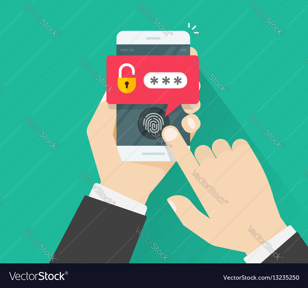 Hands with mobile phone unlocked with fingerprint vector image