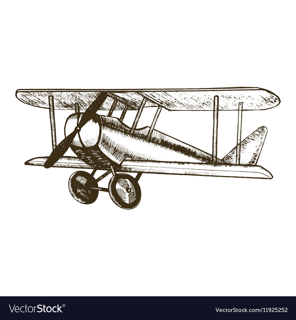 Plane Hand Draw Sketch vector image