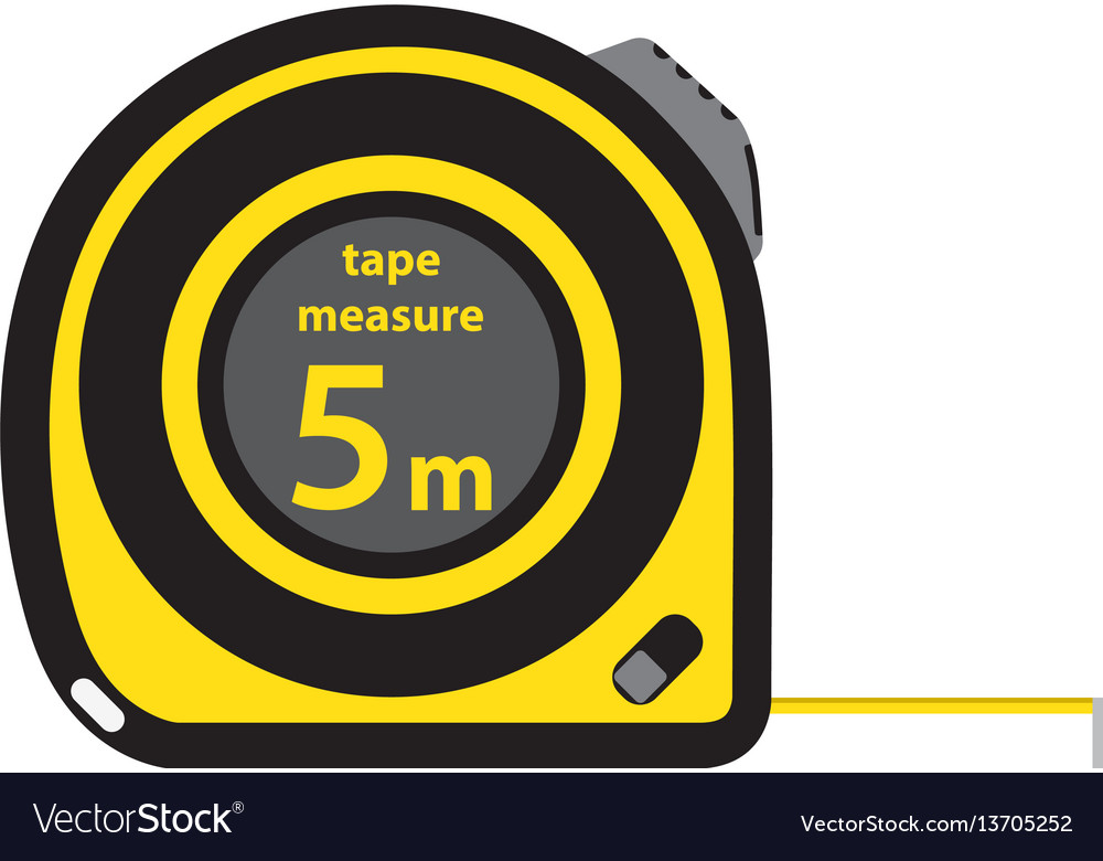 Roulette construction tool yellow measure tape in vector image