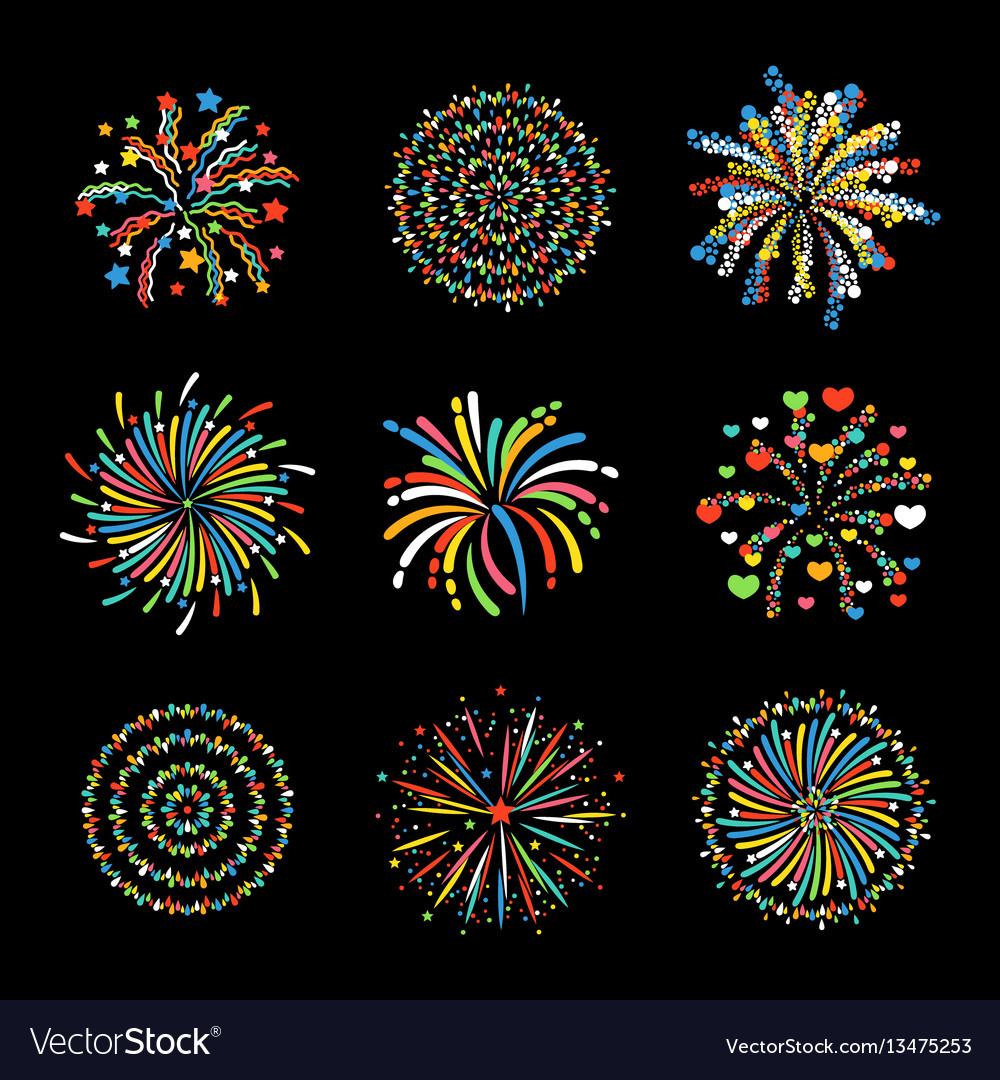 Firework different shapes colorful festive vector image