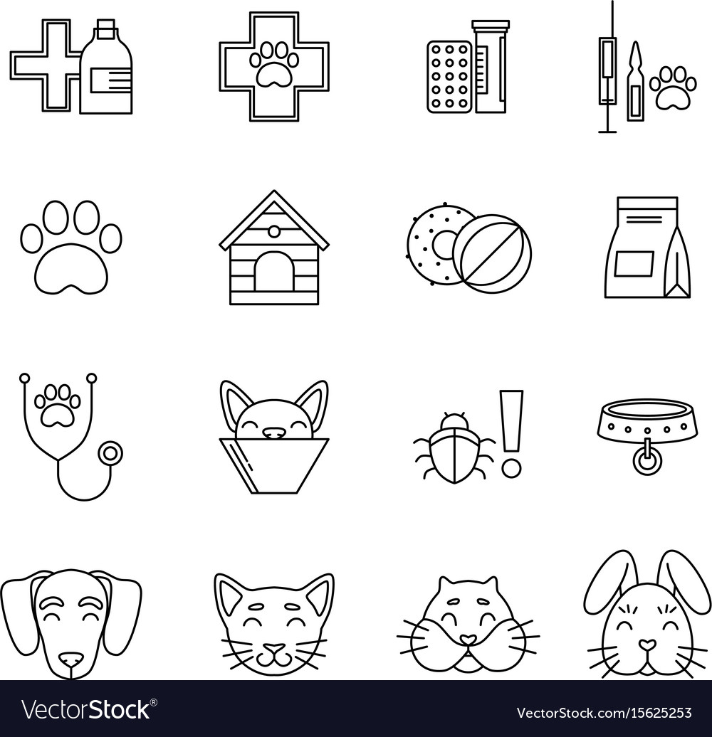 Linear icons set of veterinarian clinic different vector image