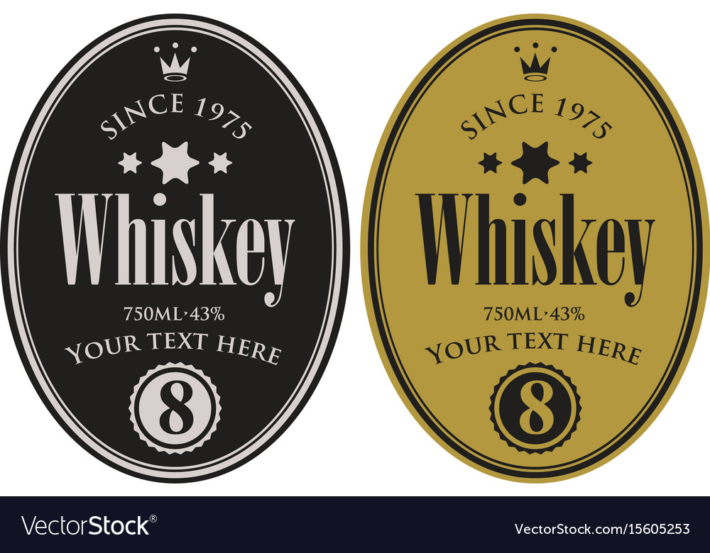 Two retro labels for whiskey in the oval frame vector image