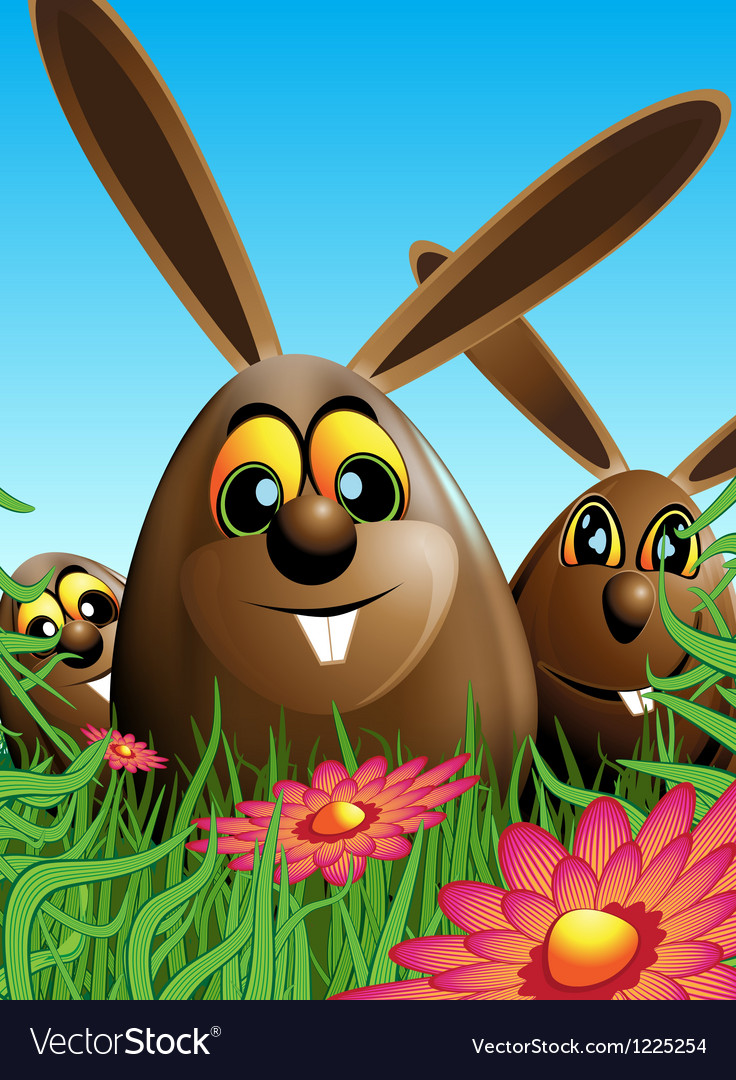 Three Easter eggs hidden in the grass Vector Image