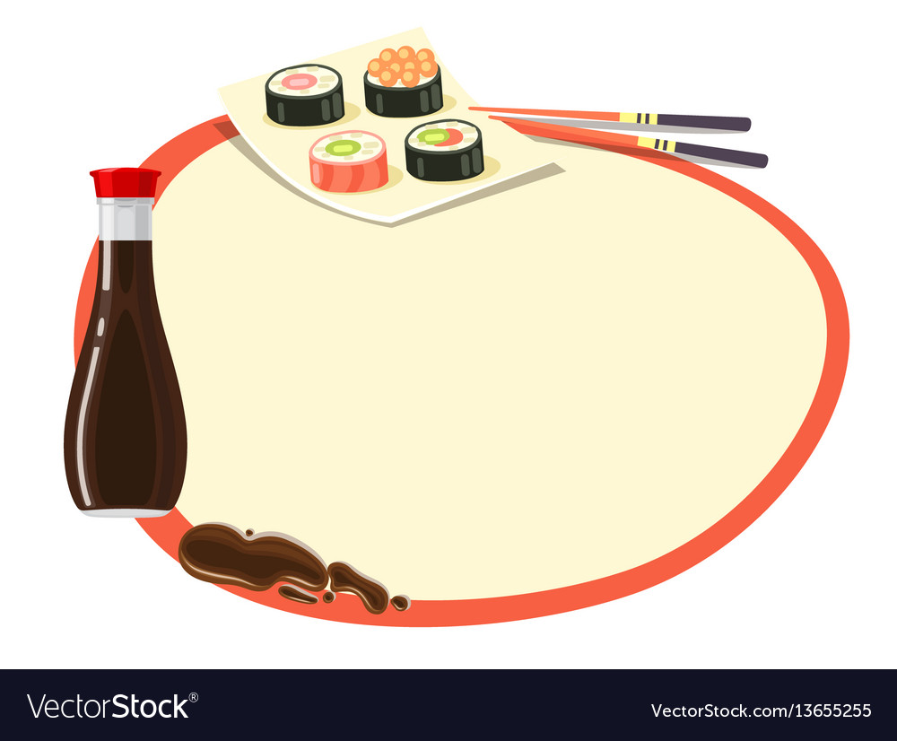Circle with red frame with soy sauce and sushi vector image