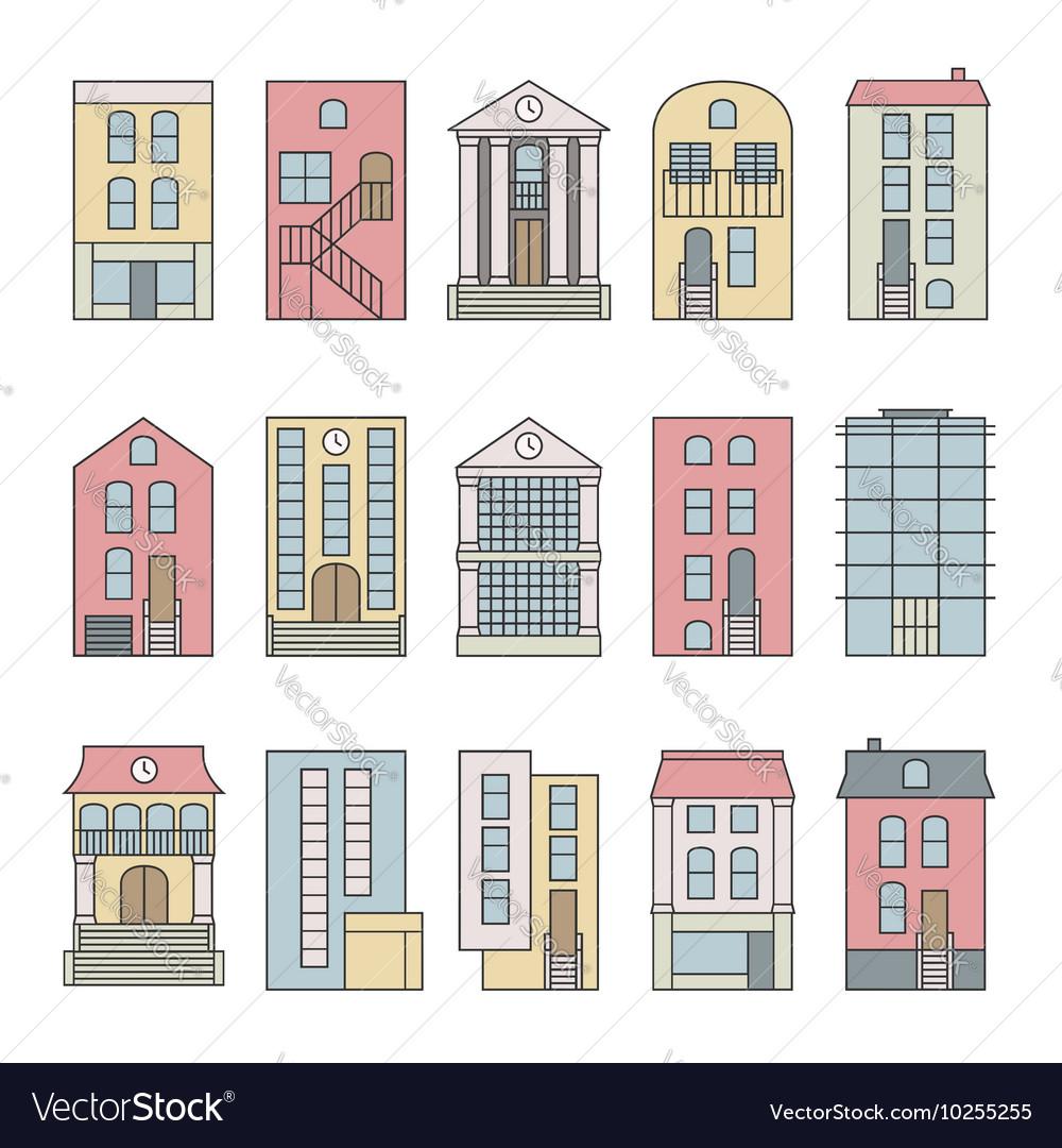City building skyline constructor set vector image