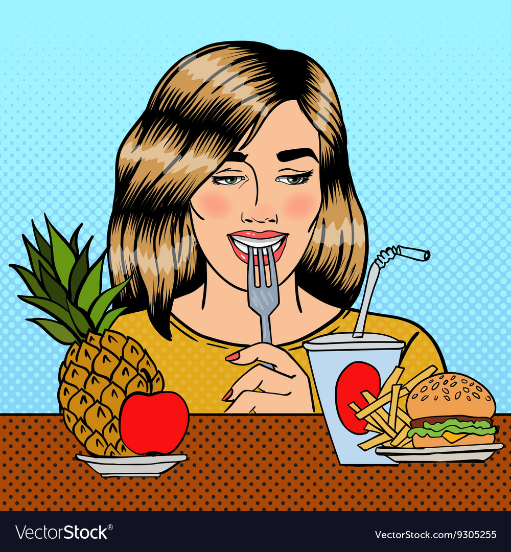 Woman Choosing Between Fruits and Fast Food vector image