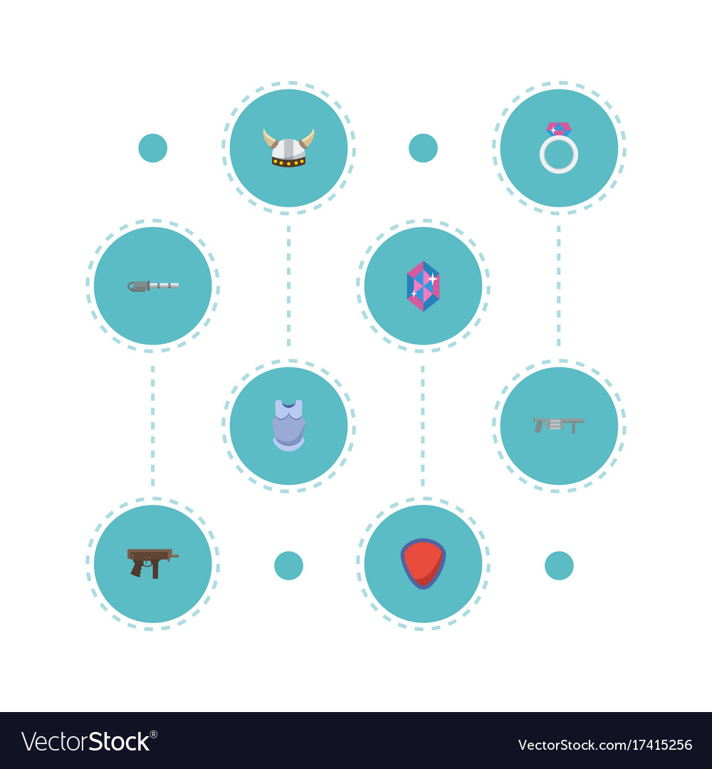 Flat icons gun bulletproof protection and other vector image