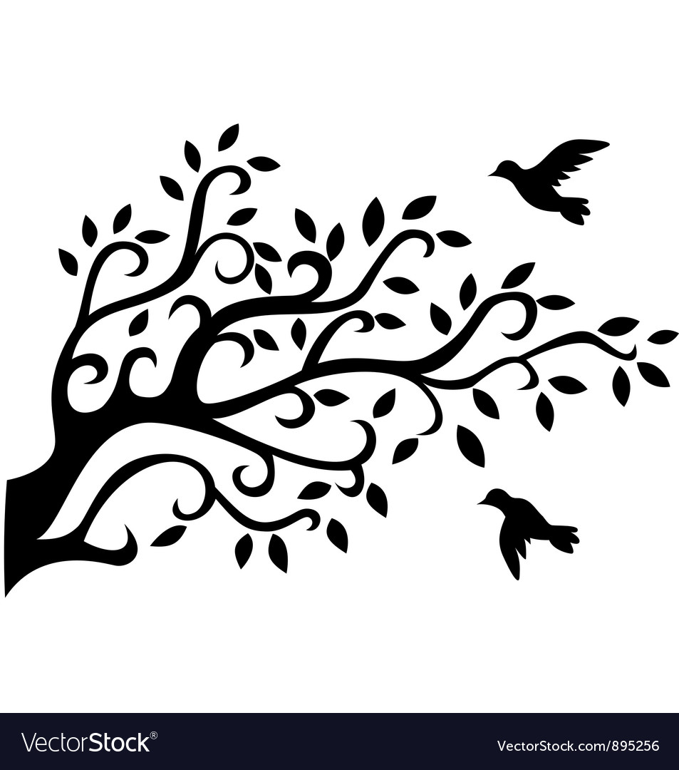 Tree silhouette with bird Royalty Free Vector Image