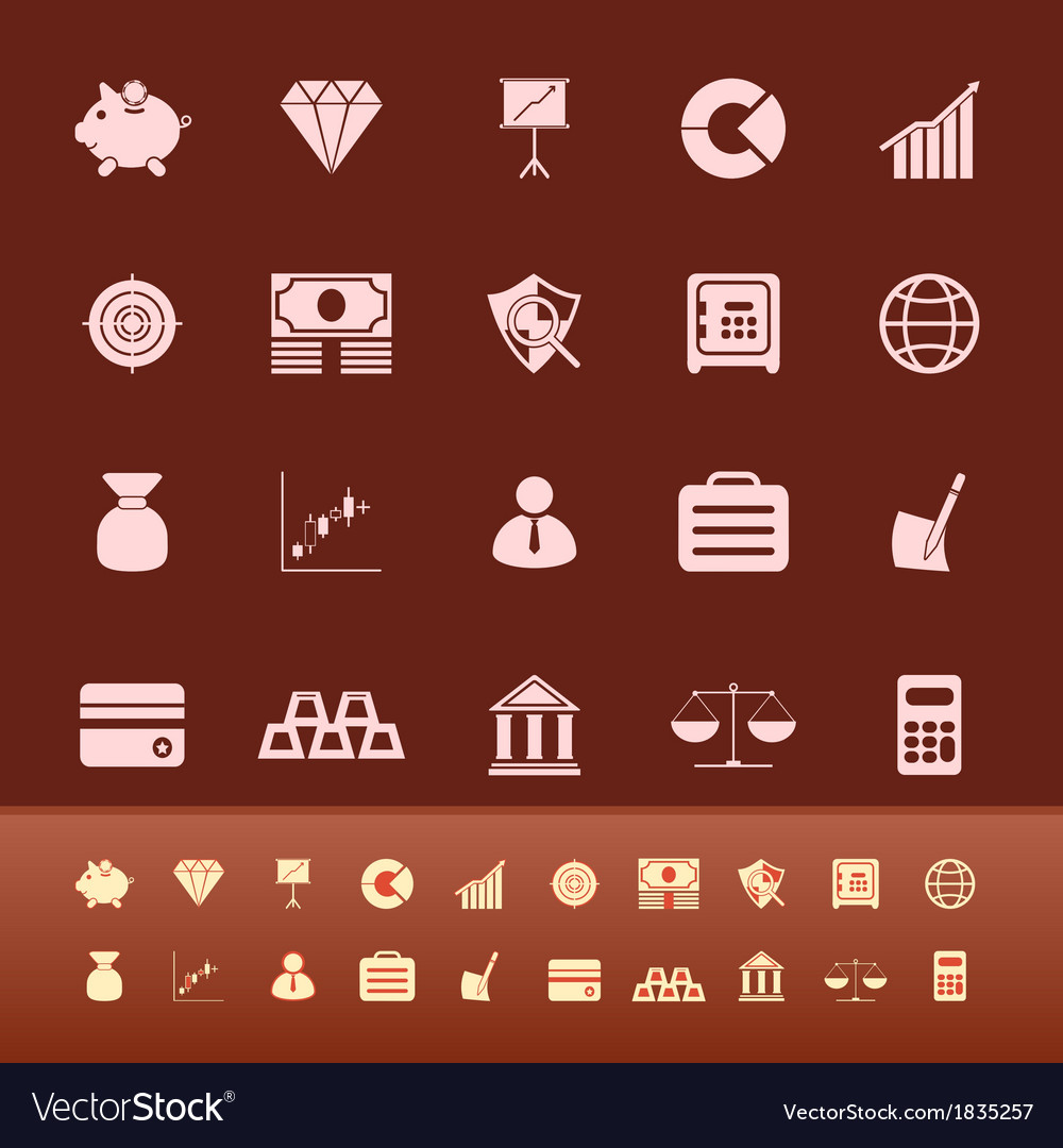 Finance color icons on brown background vector image